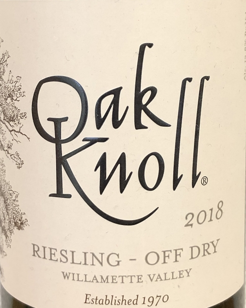 2018 off dry riesling